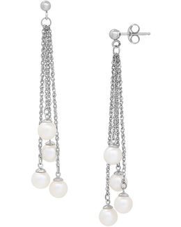 5-5.5mm White Pearl And Sterling Silver Multi-strand Earrings