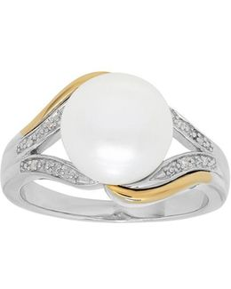 Diamond, Freshwater White Pearl And Sterling Silver Ring