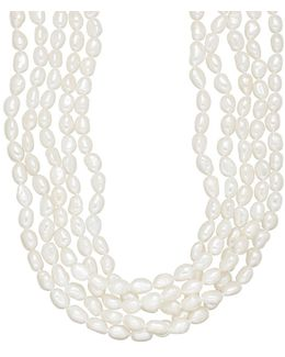 5-17.75mm Five-strand White Freshwater Pearl Necklace