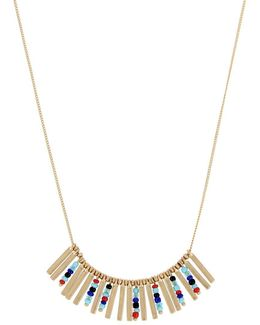 Kaleidoscope Delicates Multi-colored Beaded And Stick Frontal Pendant Necklace