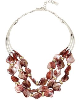 Silver-tone Red Mother-of-pearl Stone Multi-row Statement Necklace