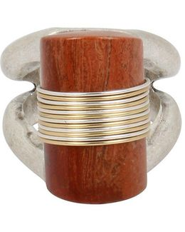 Wired Warrior Semiprecious Red Jasper Stone Sculptural Two-tone Plated Ring