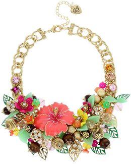 Tropical Flower Statement Bib Necklace