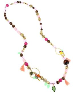 Tropical Punch Mixed Howlite Beads Long Station Necklace