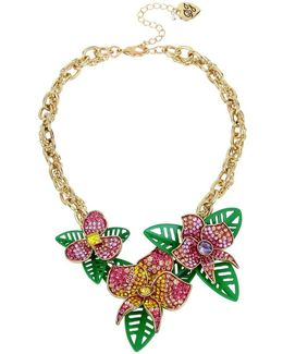 Tropical Punch Pave Flower Frontal Necklace