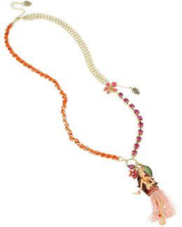 Gold-tone Multi-stone Hula Girl Pendant Necklace