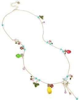 Gold-tone Multi-stone Fruit & Flower Charm Necklace