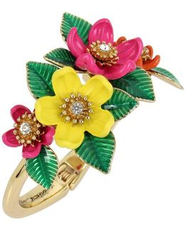 Gold-tone Multicolor Floral Hinged Bangle Bracelet