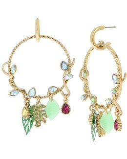 Tropical Punch Vine And Leaves Gypsy Hoop Earrings