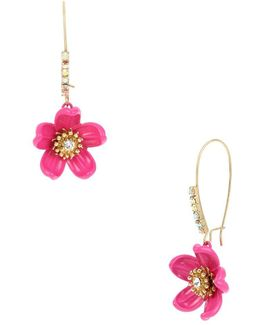 Tropical Punch Flower Long Drop Earrings