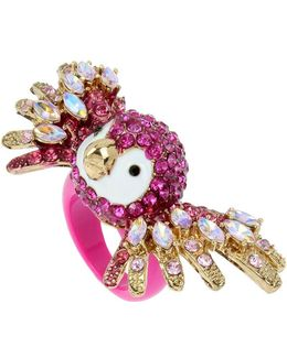 Tropical Punch Pave Crystals Parrot Ring