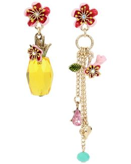Tropical Punch Pineapple And Multi Charm Mismatch Drop Earrings