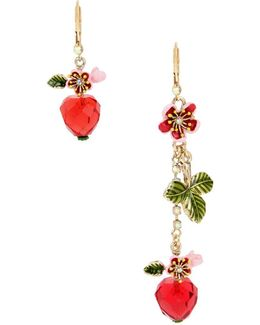 Tropical Punch Strawberry Mismatch Drop Earrings