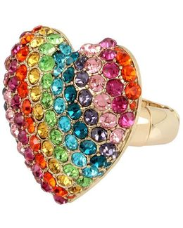 Rainbow Connection Pave Crystal Studded Heart Stretch Ring