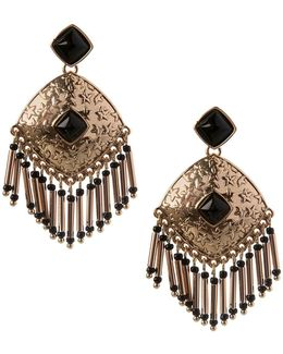 Fringe Florals Beaded Drop Earrings