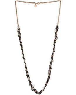 Chinae Glass, Cubic Zirconia And Brass Long Necklace