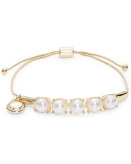 Faux Pearl-accented Slide Bracelet