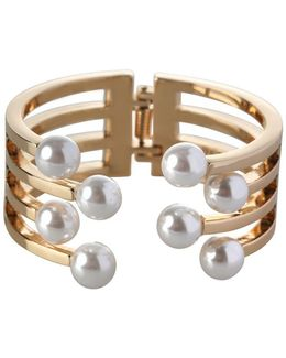 Pearl Perfect 10mm White Round Pearl Multi-row Hinged Cuff Bracelet