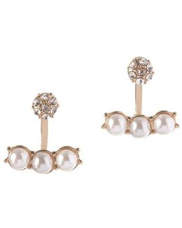Pearl Perfect 5mm White Round Faux Pearl Front-back Earrings
