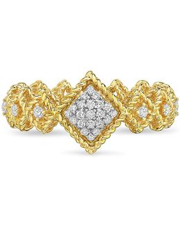 Diamond, Genuine Crystal & 18k Yellow And White Gold Bar Ring