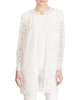 Open-front Paisley Lace Duster