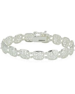 Sterling Silver High Polished Filigree Square Link Bracelet