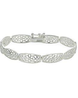 Sterling Silver High Polished Floral Filigree Rectangle Link Bracelet