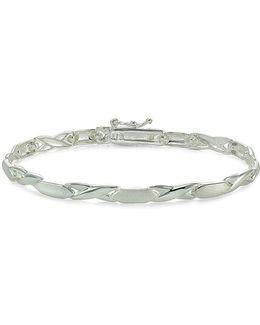 Sterling Silver Polished Brushed Oval Bracelet