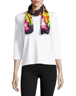 Floral Fringe Silk Scarf