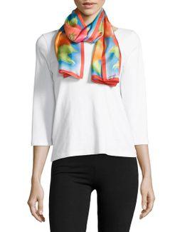 Watercolor Floral Silk Scarf