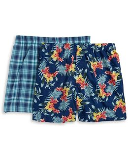 Plaid And Floral Cotton Boxers-2-pack