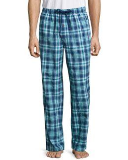 Plaid Seersucker Tonal Cotton Pants