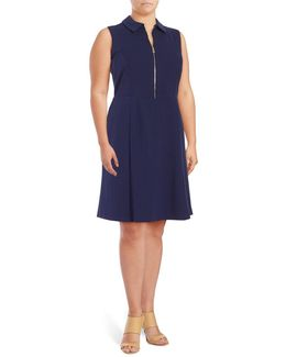 Zip-accented A-line Dress