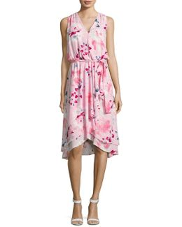 Floral Belted Mock-wrap Dress