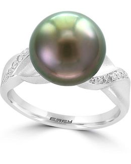 Black Tahitian Pearl And 925 Sterling Silver Ring