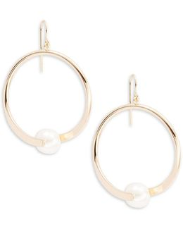 Faux Pearl-accented Ring Drop Earrings