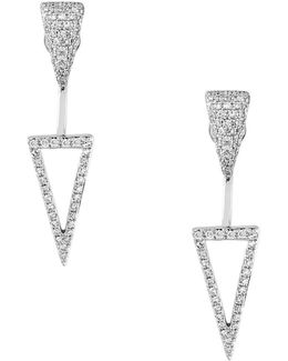 Final Call Diamond And 14k White Gold Floater Earrings, 0.65tcw
