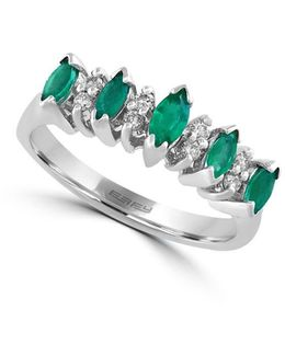 Brasilica Natural Emerald, Diamond And 14k White Gold Ring