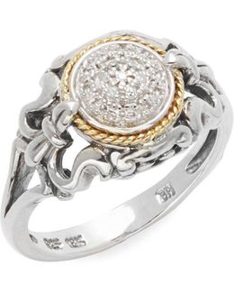 Diamond 18k Yellow Gold & Sterling Silver Ring