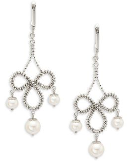 6.5mm-8.5mm White Round Fresh Water Drop Earrings