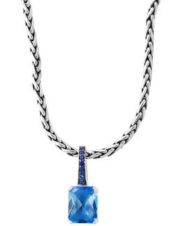Final Call Green Sapphire, Blue Topaz & Sterling Silver Pendant Necklace