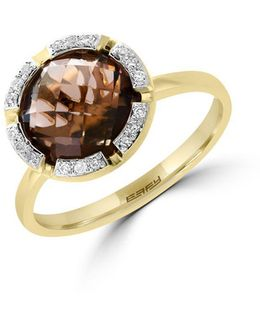 Final Call Diamond, Smoky Quartz & 14k Yellow Gold Ring