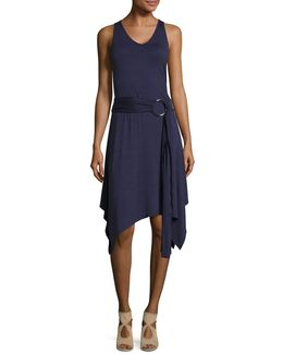 Belted Asymmetrical Dress