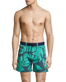 Leaf-print Swim Shorts