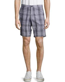 Slim Fit Plaid Cotton Shorts