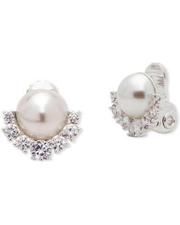 10mm Faux Pearl, Crystal & Silver Stud Earrings