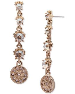 Linear Stone Accented Disc Drop Earrings