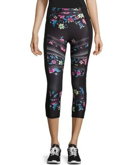 Floral Cutout Cropped Leggings