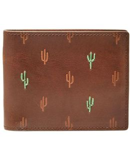 Rfid Cactus Leather Bifold Wallet