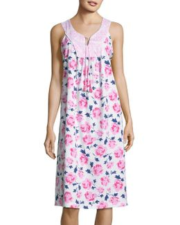 Floral Contrast Nightgown